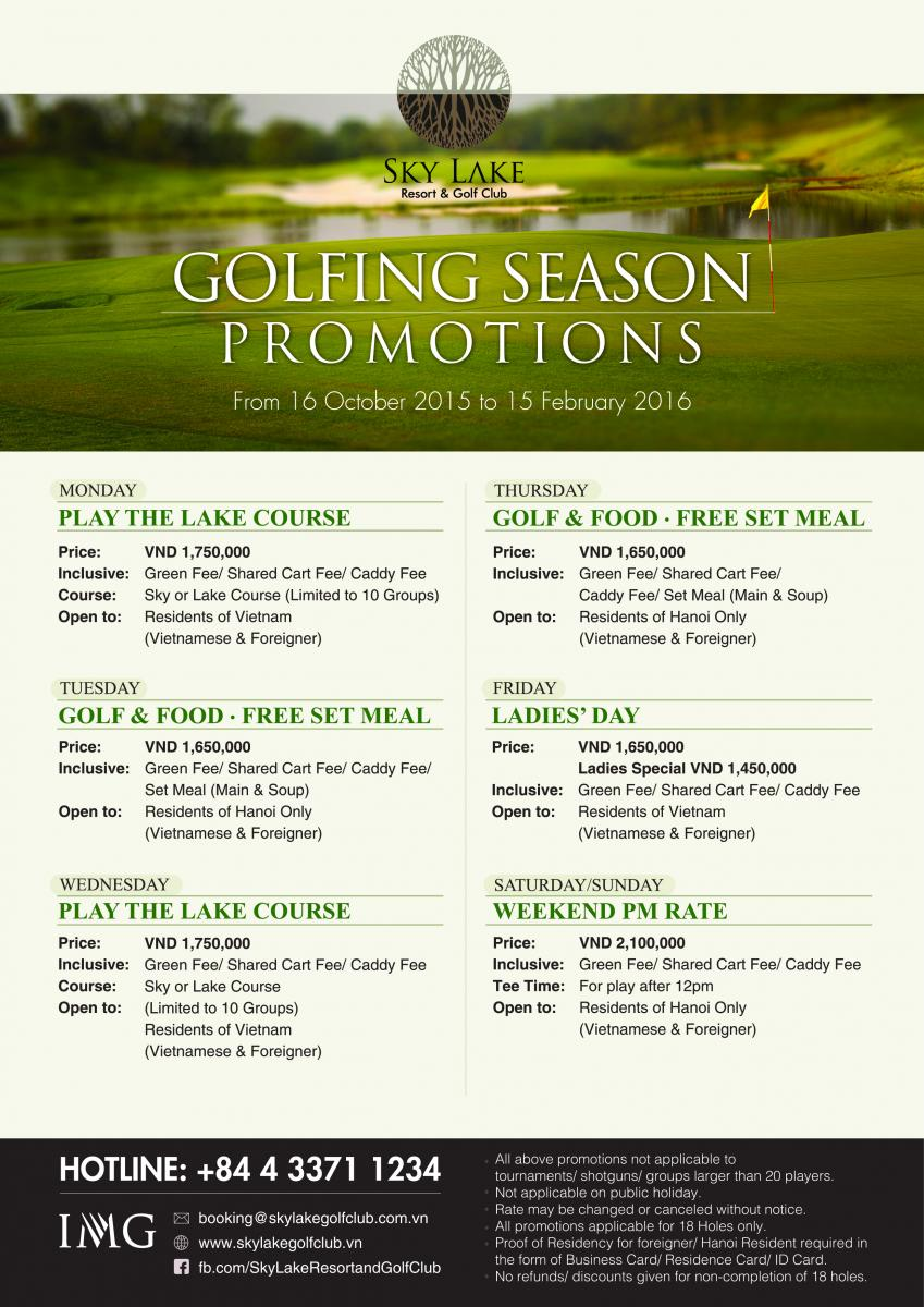 Hot promotions when play golf at Sky Lake Resort & Golf Club | Alegolf