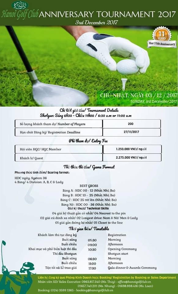 Giải golf 11th Anniversary Tournament 2017