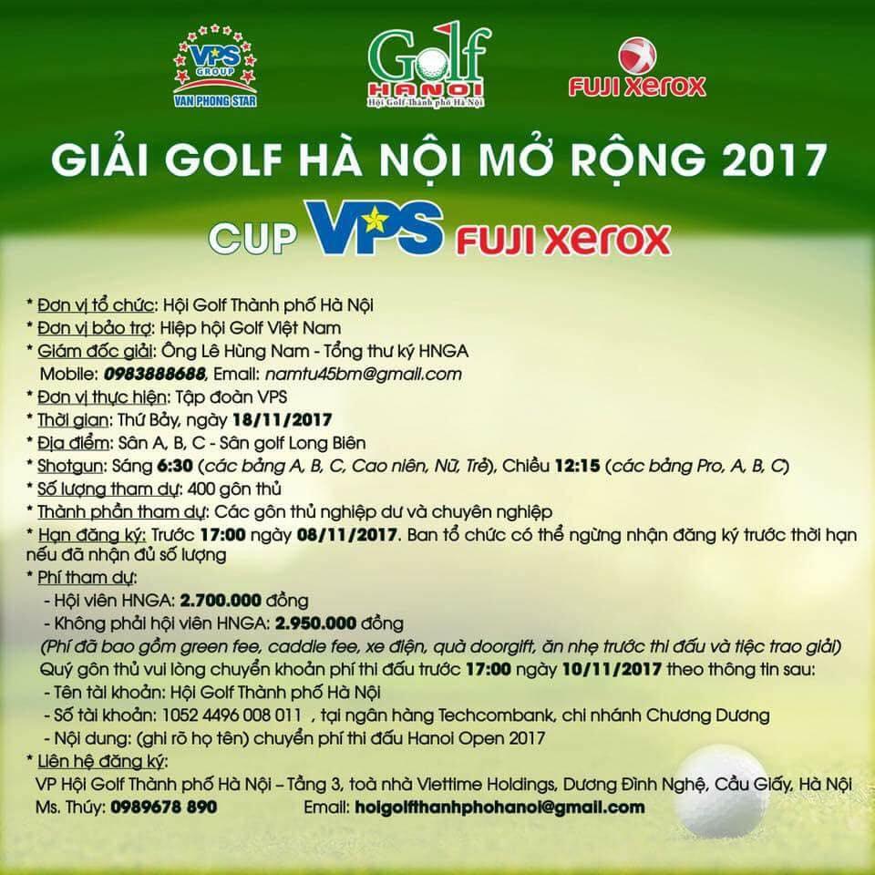 Giải golf Hà Nội Mở Rộng 2017 - Cup VPS Fuji Xeror