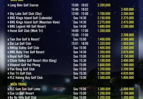bảng giá giờ đèn sân golf